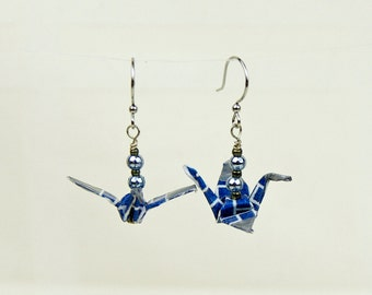 Origami Peace Crane Earrings Hand-Made in Navy Geometric Design