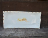 Custom 50th Anniversary Signature Guestbook Platter - Personalized with Names, Date - Polka Dot Border