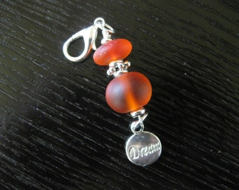 Dream & Frosted Red Rondelles - Zipper Pull Purse Charm