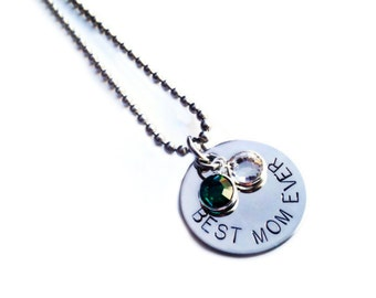 Personalized Birthstone Necklace for Mom - BEST MOM EVER, custom option available as well