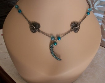 Peacocks & Pearls Necklace, Turquoise Pearls and Rhinestones, 25% OFF SALE, by Brendas Beading on Etsy