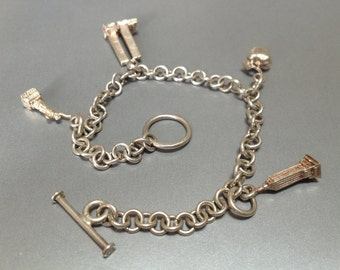 New York City Theme Souvenir Charm Bracelet – 1980s 925