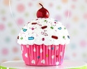 Mini Fake Cupcake Decoration Pink Multi Color Hearts - Valentine's Day Decoration #CUP232