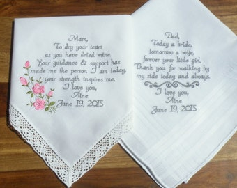Wedding Gift Wedding Handkerchief Gifts for Mom and Dad Embroidered Wedding Hankerchiefs Mother and Father Wedding Gifts Canyon Embroidery