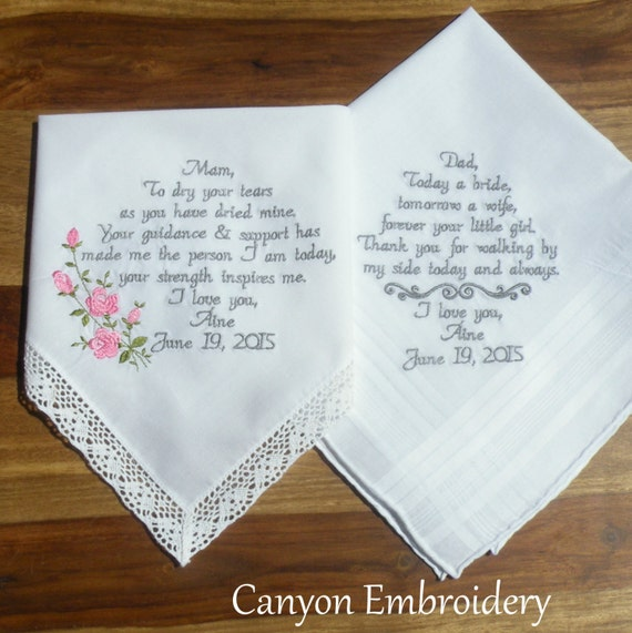 Wedding Gift Ideas Embroidered : Embroidered Wedding Handkerchiefs wedding gift Embroidered Gift ...