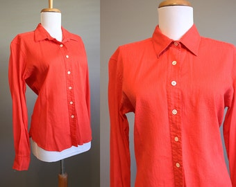 Christian Dior Blouse Vintage Red Button Front Shirt Large