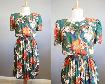 Safari Floral Dress Vintage Green Secretary Small Medium