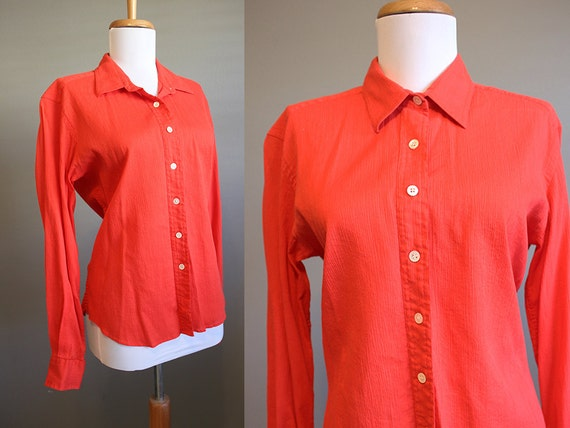 Christian dior blouse vintage red button front shirt large for Christian dior button up shirt