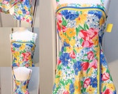 Tropical Pinup Vintage Beach Babe Retro Swim Coverup Floral Swimsuit 50s