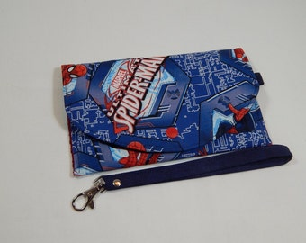 Spiderman Wristlet, Sci Fi Wristlet, Super Hero Clutch, Phone Wristlet, Mini Wallet, Coupon Wallet, Made in USA