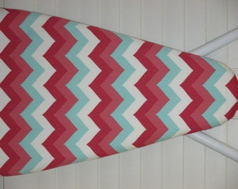 Ironing Board Cover - Standard size - Large Chevron - Zig Zag - White Coral Salmon and Aqua - Laundry Room - House Warming