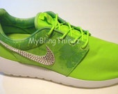 BLING Nike Roshe One Print Shoes w/ Swarovski Crystals Bedazzled - Flash Lime / White / Menta