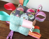 Floral Baby Block, Grey Pink Aqua Baby Gift, Ribbon Baby Rattle Toy, Vintage Shower, Baby Rattle, Girl Gift, Plush Fabric Baby Toy Block