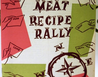 Vintage 'Meat Recipe Rally' Cookbook, 1950s, National Livestock and Meat Board, Recipes, Comfort Food, Home Cooking, FREE US Shipping
