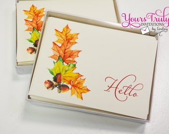 Fall Leaves and Acorn Thank you Hello Note card Custom