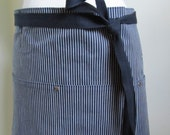Half Apron  Japanense Denim  Indigo Striped  Utility  Crafter Staff Person