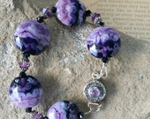 Swirled Purple Lampwork Bracelet with Amethyst Clasp