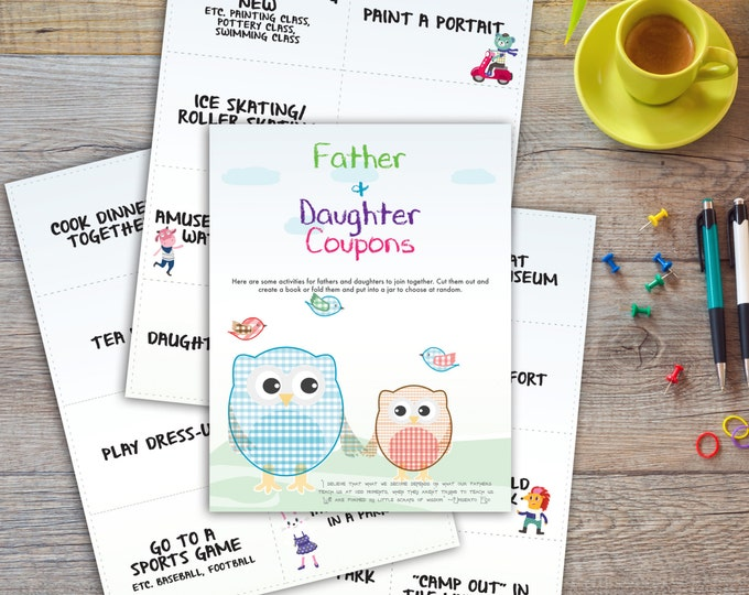 Father Daughter Coupons | 24 different cards | Printable | Instant download | Fathers day