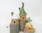 Garden Fairy Houses Set of 3 - New Houses out of the Kiln  - Actual Set -  Ready to Ship -- Handmade on Potters Wheel