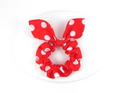 Bunny Ears Knot Bow Hair Scrunchie, Red and White Polkadot