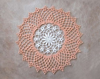 Peach Decor Crochet Lace Doily, Cottage Chic Decor, New Table Accessory, White Flower, Peach Lace
