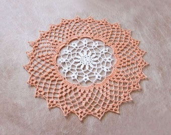Peach Decor Crochet Lace Doily, Peaches and Cream Decor, Cottage Chic, White Flower, Peach Lace Table Accessory
