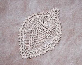 Pineapple Decor Crochet Lace Doily, Ecru, Tropical Table Accessory, New, Island Home Decor