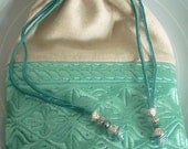 Moroccan bag, drawstring pouch, aqua embroidered fabric, linen Summer purse / bag