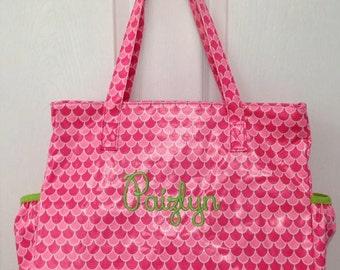 Personalized diaper bag pink green trim