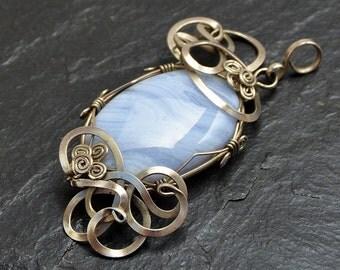 Blue Agate Pendant, Silver Pendant,  Wire Wrap Pendant, Gemstone Pendant, Bue Lace Agate, Blue Stone Pendant, Necklace Pendant