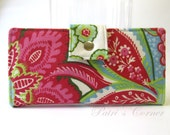 Handmade womens wallet clutch Large flower pink and red - ID clear pocket - ready to ship - Gift for her -