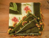 scarf with crochet edging, green