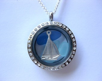 sea glass locket glass  locket  sea glass jewerly boat pendant