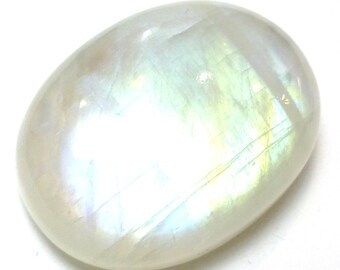 Rainbow Moonstone Cabochon Large Oval AAA Grade Blue Schiller Reflective Translucent Cats Eye Jewelry Designer Hand Made One of a Kind Rare