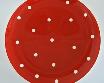 "Retro-EuroCeramica-""Red Hot"" Red Polka Dot Dinner Plates-Listing is for ONE (1) Plate"