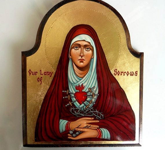Our Lady of Sorrows Madonna, Virign Mary wth Seven Swords - handpainted orthodox  icon 9 1/2 by 8 inches