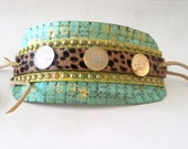 Leather bracelet Cuff, Embellished Bracelet, Boho Chic jewelry, Eco Friendly, Hand painted, Festival Cuff, Ethnic, Gypsy Bracelet