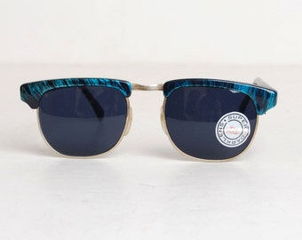 Vintage 90s Blue Clubmaster Sunglasses Shades