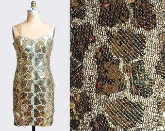 Vintage 90s Bodycon Dress Mini Gold Sequin Animal Print Strappy 1990s Party Body Con Scoop Neck Tank Sleeveless Medium M