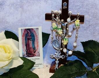 Our Lady of Guadalupe Unbreakable Traditional Mystical Rose Catholic Chaplet - Handmade Catholic Gift