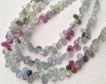 Brand New, Rare Natural MULTI SAPPHIRE Faceted Pear Shape Briolettes,7mm size,Full Strand,Amazing Item.