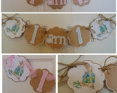 Peter Rabbit High Chair banner Beatrix  Potter bunny  Easter 1st birthday party decorations baby shower birthday