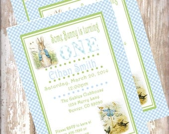 Peter Rabbit Birthday Invitations Beatrix  Potter bunny  Easter 1st birthday party decorations baby shower birthday