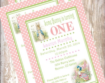 Printable PDF Peter Rabbit Birthday Invitations Beatrix  Potter bunny  Easter 1st birthday party decorations baby shower birthday