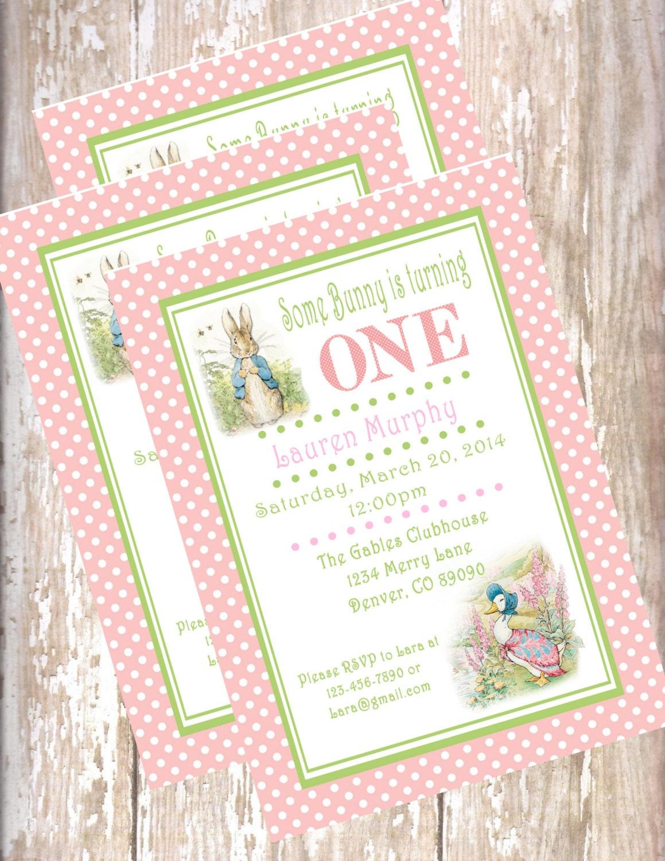 Peter Rabbit Birthday Invitations Beatrix Potter bunny
