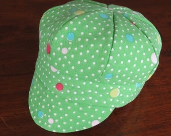Baby Newsboy Cap Hat Lime Green With Polka Dots Canvas Baby  Hat Baby Girl Hat Baby Boy Hat