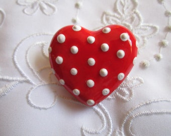 Vintage Red China Heart Brooch with White Polka Dots