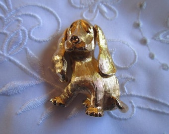 Vintage Gold Tone Dog Brooch by Monet