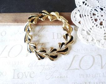 classy LADY vintage gold and black enamel bracelet A9 | fan | vintage | 1960s | jet black | classic | flip clasp