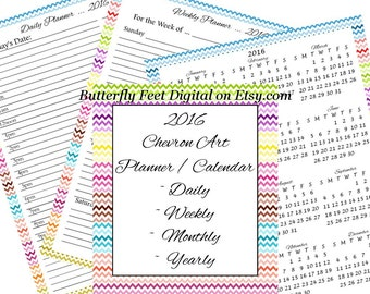 2016 Planner Calendar, Monthly, Daily, Weekly, Year View, Chevron ...